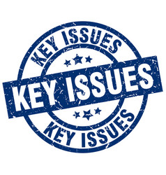 Key issues blue round grunge stamp vector