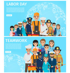 Labor day and teamwork promotion vector