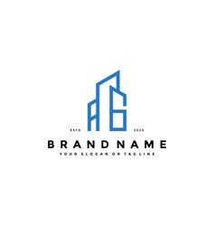 Letter ag build logo design concept vector