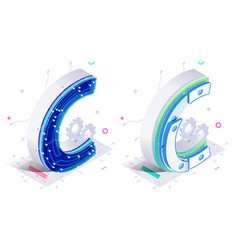 letters c with connecting elements vector image