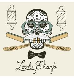 Look sharp skull with mustache vector