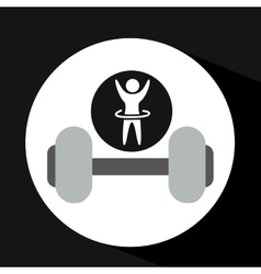 man hand up silhouette with barbell icon design vector image