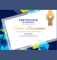 Modern blue certificate completion template vector