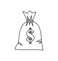 Money bag with dollar sign icon outline style vector image