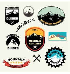 Mountain labels set Ski Resort logo vector image