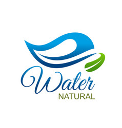 natural water icon mineral wave drop green leaf vector image