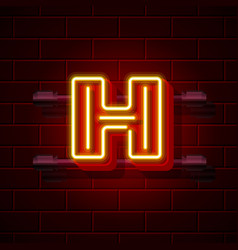 Neon city font letter h signboard vector