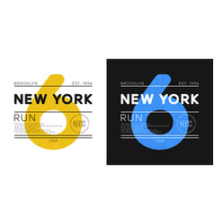 new york marathon print for t-shirt design vector image