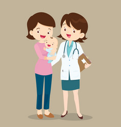 Paediatrician and mom with baby vector