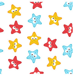 pattern with cartoon colored starfish vector image