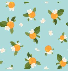 pattern with orange mandarin on blue background vector image