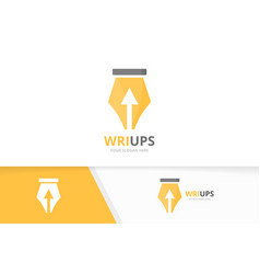 Pen and arrow up logo combination write vector