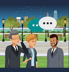 People talking at city vector