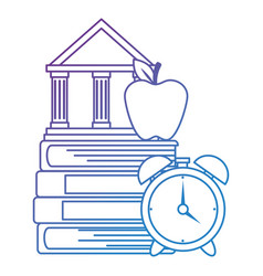pile text books with alarm and library building vector image