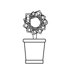 plant with leaves money vector image