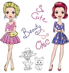 Pop Art cute fashion girls with dog and cat vector