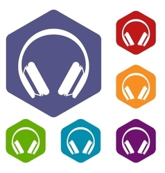 Protective headphones icons set vector