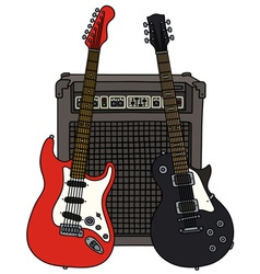 Red and black electric guitars and the combo vector