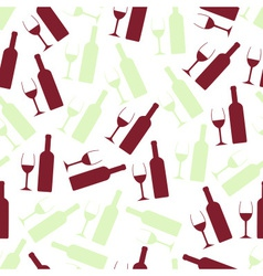 Red and white wine glasses and bottle seamless vector