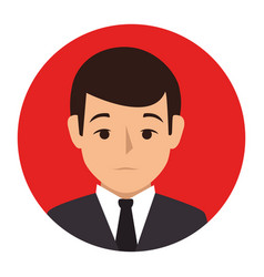 Red sphere of half body man formal style vector