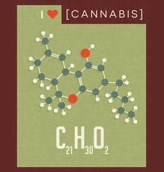 Retro poster cannabis plant molecule vector