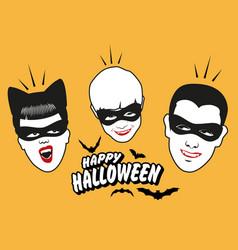 retro style vampire family wearing masks happy vector image