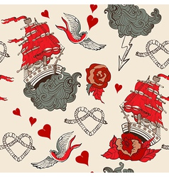 Seamless Vintage pattern with ship for Valentine vector image