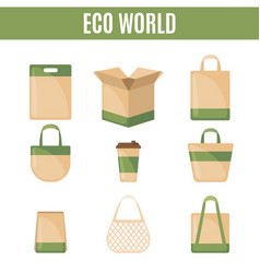 Set eco packaging icons in flat style vector