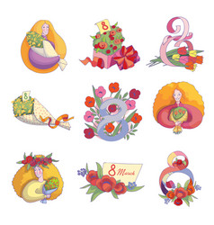 set of decorations for 8 march postcards vector image