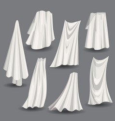 set of fluttering white cloths with folds soft vector image