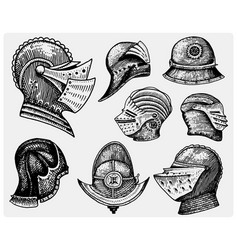 Set of medieval symbols battle helmets for knights vector