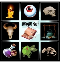 Set of nine devices and trophies sorcerer vector image