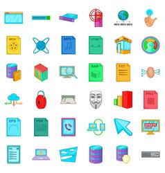 Signal icons set cartoon style vector
