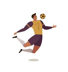 Soccer player forward football flat vector