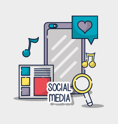 social network media connection element vector image