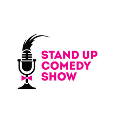 stand up comedy show mic sign emblem vector image