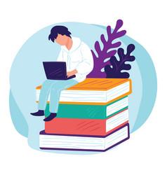 Student preparing for exam freelancer learning vector