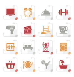 stylized hotel and motel facilities icons vector image