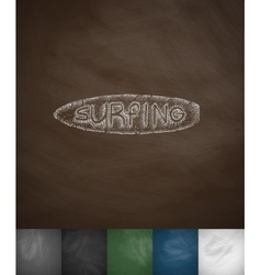 Surfing icon hand drawn vector