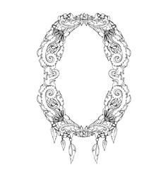 Swirl floral frame Old black doodle border vector image