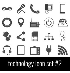 technology icon set 2 gray icons on white vector image