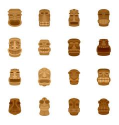Tiki idol aztec hawaii face icons set flat style vector