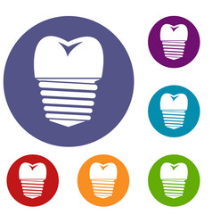 Tooth implant icons set vector