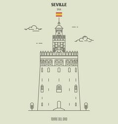 torre del oro in seville spain vector image