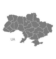Ukraine map with regions grey vector