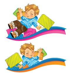 Very Happy Kid with Gifts vector image