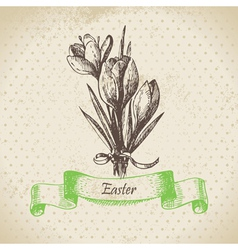 Vintage Easter background with crocus flowers vector image