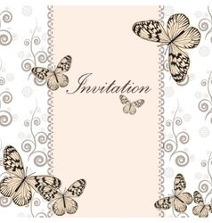 Vintage invitation card with white butterfly vector