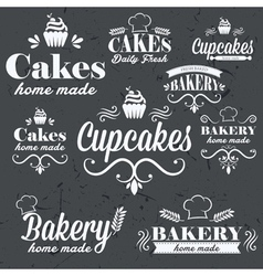 Vintage retro bakery labels on chalkboard vector