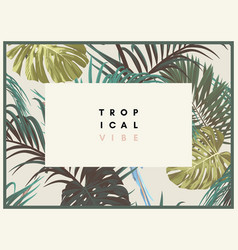 vintage tropical design with exotic monstera and vector image
